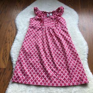 Girls Geometric pink & white patterned dress sz 7